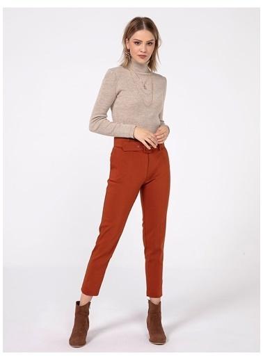 Tiffany&Tomato Kalın Kemer Klasık Pantolon Kiremit